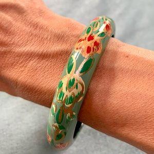 ❤️5 for $15 Vintage Hand Painted Wood Floral Green and Gold Bangle Bracelet